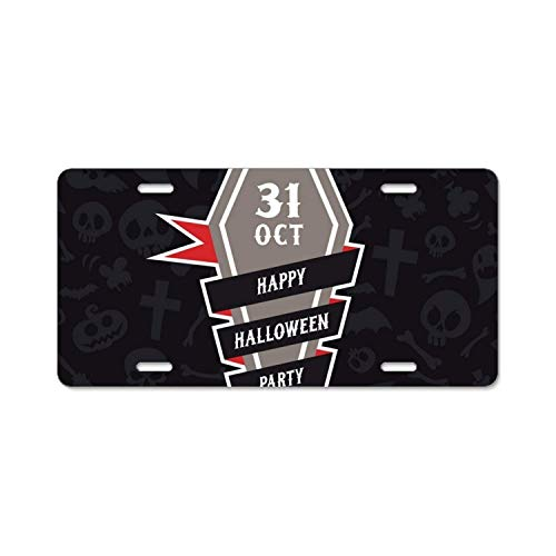 YEX Happy Halloween Party License Plate with 4 Holes Novelty Car Licence Plate Covers Tag Sign