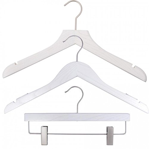 NAHANCO 20917HUSK Wood Clothes Hanger Kit - Whitewash (Pack of 79) by NAHANCO