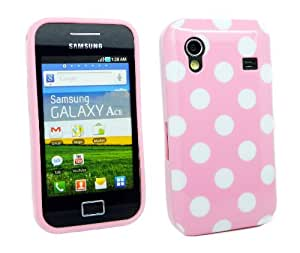 Kit Me Out ES ® Funda de gel TPU para Samsung Galaxy Ace S5830 - Rosa, Blanco Lunares