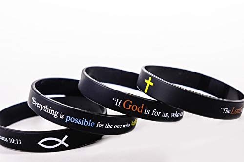 "Scripture Bracelets for Women and Men  (13-Pack) ""Power of Faith"" Wristbands by:Bel Amour Enterprise by Bel Amour Enterprise (Image #3)"