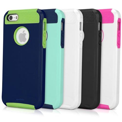 iPhone SE Fall, BoxWave® [Duocolor Fall mit Bonus Schlüsselanhänger Ladegerät] Rugged, Slim Hard Case–glänzend und matt Finish für Apple iPhone SE, 5S, 5, weiß/pink