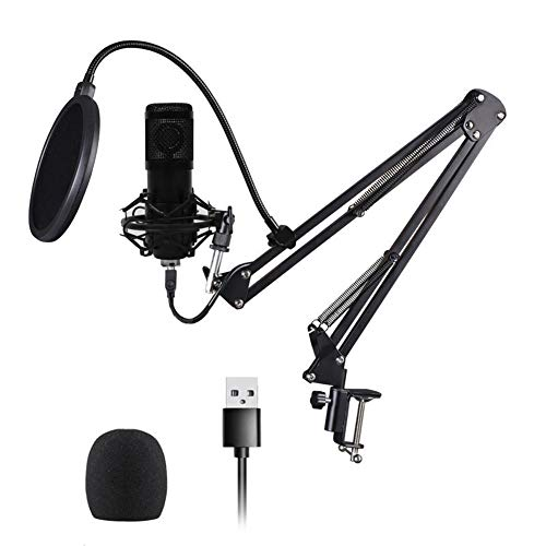 BM-800 USB Condenser Microphone Kit with Shock Mount and Pop Filter, Mic with Suspension Scissor Arm Stand for Studio Recording & Brocasting (Black)
