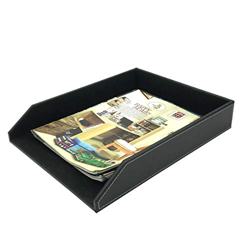 UnionBasic PU Leather Stackable Office File Document Tray - Desk File Document Organizer Holder (Black)