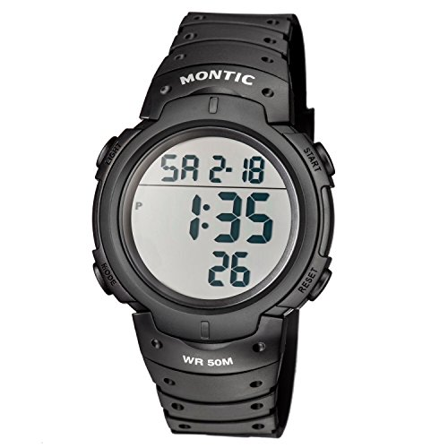 Montic Original Digital Sports Watch  Large Face - 50M Water Resistant  Military Style Multifunction Watch with Big LED Display & Illuminating Backlight - Black Casual Rubber Band Casual Wristwatch