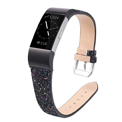 UniqeStyle Compatible with Fitbit Charge 2 Replacement Bands, 3D Glitter Bling Leather Wristband Fashion Slim Band, Fitness Strap Women Small Large (Black)