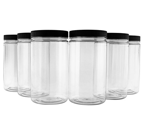 32oz Clear Plastic Jars with Black Ribbed Lids (6 pack): BPA Free PET Quart Size Canisters for Kitchen & Household Storage of Dry Goods, Peanut Butter, and More (16 Ounce Plastic Canisters)