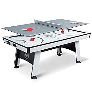 NHL Power Play Air Powered Hockey Table with Table Tennis Top – 80 Inches – Includes Hover Hockey Pucks, Pushers, Table Tennis Balls, Paddles, and Net
