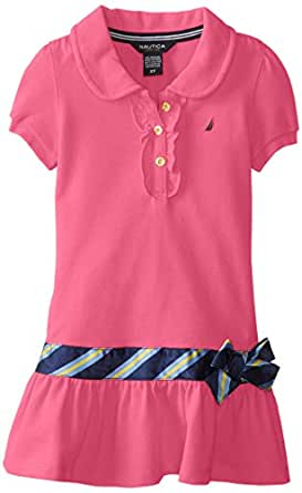 Nautica Big Girls' Pique Polo Dress with Gold Buttons, Pink, 12