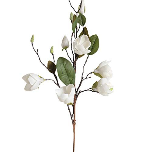 Magnolia Silk Flower - Alelife New Artificial Fake Silk Flower Leaf Magnolia Floral Wedding Bouquet Party Centerpieces Bridal Party Home Room Decor (White)