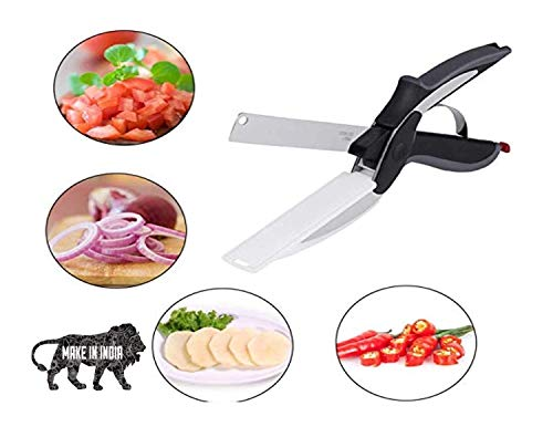 SWARG 2 in 1 Stainless Steel Smart Kitchen Scissor for Cutting Vegetables & Fruits Pack of 1 (Multi Color) Price & Reviews