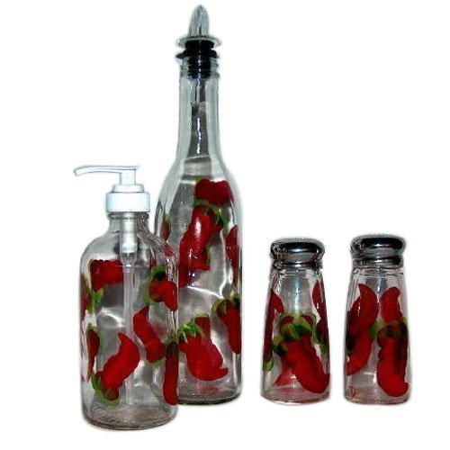 Hand Painted 4-piece Glass Condiment Set with Chili Pepper Design Signed by Artisan.