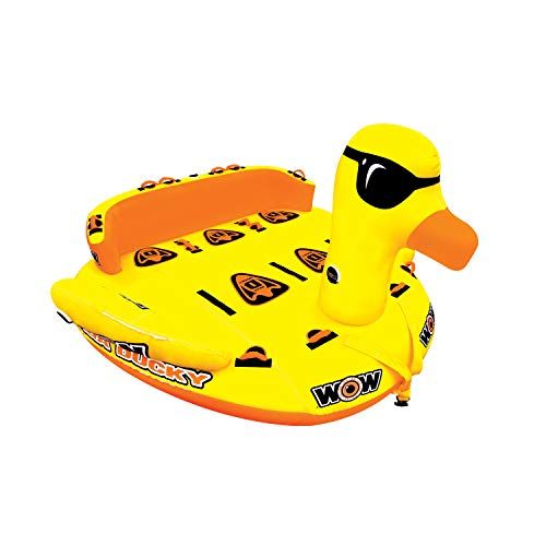 WOW Watersports Mega Ducky 19-1060, 1 to 5 Person Towable, Front and Back Tow Points 5 Person Water Tube, Water Sports Towable