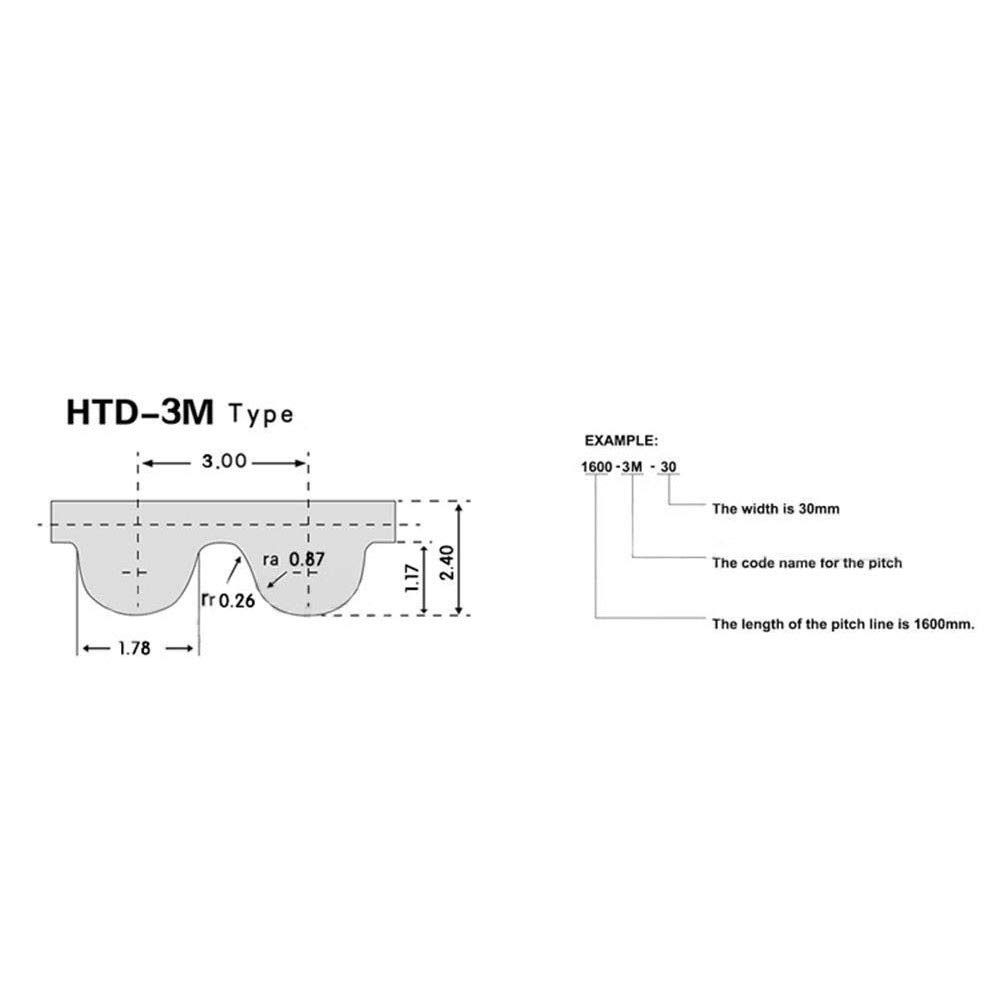 HTD3M 195 Close Loop Rubber Timing Belt Synchronous Belt Pitch 3mm Width 15mm HTD 3M-195, 15mm width