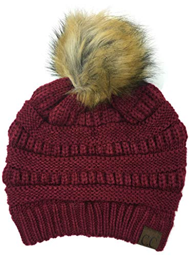 Soft Stretch Cable Knit Ribbed Faux Fur Pom Pom Beanie Hat ()