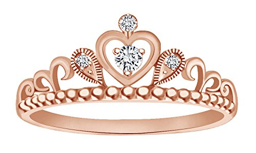 Gold Milgrain Heart - AFFY Cubic Zirconia Milgrain Heart Princess Crown Engagement Ring in 14k Rose Gold Over Sterling Silver