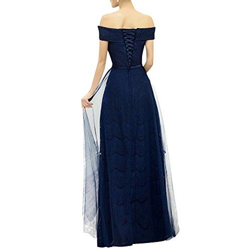 Dasior Une Soirée Bal Robe Longue Ligne Femmes Bateau Lacets Bleu Marine Arc