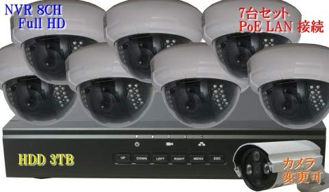 防犯カメラ 210万画素 8CH 1080P POE レコーダー ドーム型 IP ネットワーク ドーム型 屋内 カメラ SONY製 7台セット LAN接続 HDD 3TB 1080P フルHD 高画質 監視カメラ 屋内 赤外線 B07KMYT7KS, MEL ANGE -メルアンジュ-:fd574b34 --- m2cweb.com