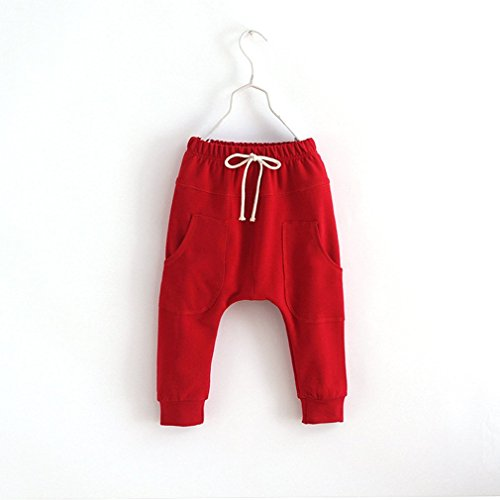 Yanzi6 Baby 1-6T Kids Harem Pants Children Infant Sport Hiphop Trousers Joggers 4-5T 110cm tall, Red/Tag size:120,Red by Yanzi6