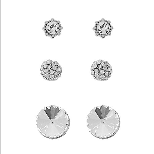 Shimmering Round Crystal Pave Button Post Stud 3 Pair Earrings Set
