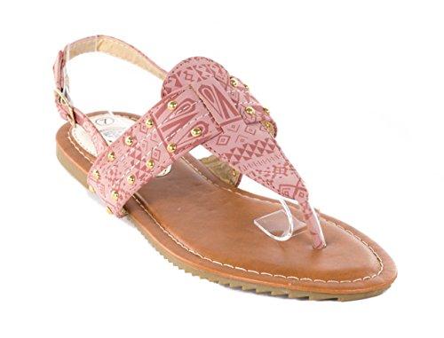 Victoria K Women Open Toes Flat Thongs Camel Cave Art Sandals, 8