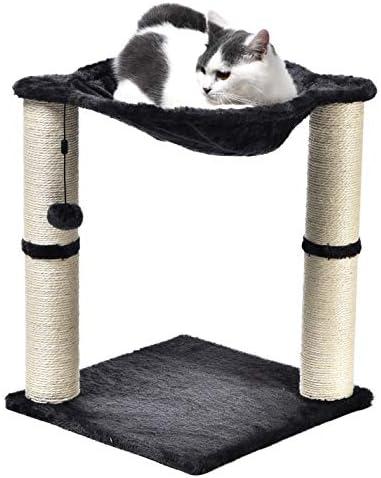 Torre en forma de árbol para gatos con cama tipo hamaca y poste rascador 2