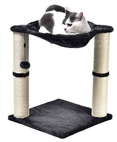 AmazonBasics Cat Condo Tree Tower With Hammock Bed And Scratching Post - 16 x 20...