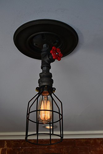 West Ninth Vintage Iron Single Ceiling Farmhouse Light (Red Handle &Cage) 5