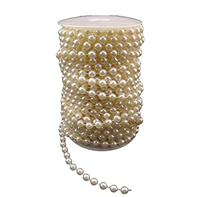 Herebuy8 66ft 8mm Faux Plastic Pearl Strands Beads Garland Curtain DIY Wedding Party Home Decoration (Ivory)
