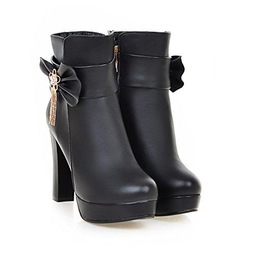Solid Ladola Womens Platform Black Urethane Tassels Bows Boots Waterproof wH4qw