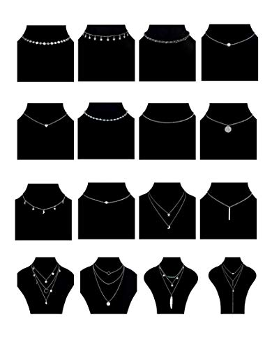 (Tornito 16PCS Layered Choker Necklace for Women Girls Multilayer Chain Pendent Necklace Y Necklace Star Moon Feather Bar Necklace Silver Tone)