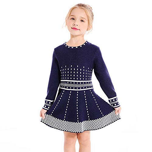 SMILING PINKER Girls Knit Sweater Dress Argyle Crewneck Long Sleeve Winter Party Dress (Navy Blue, 5-6)