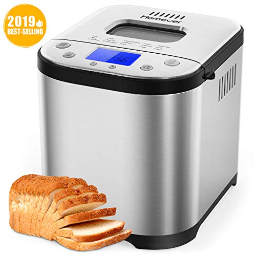 Homever Bread Maker [2019 Upgraded] - Automatic 2LB Bread Machine with Sugar Free Setting, Fully Stainless Stee Bread Maker (15 Programs, 3 Sizes & 3 Colors, 15 Hours Delay Timer, 1 Hour Keep Warm) ()