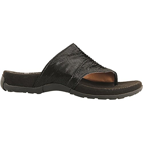 Taos Footwear Women's Gift 2 Black Printed Leather Sandal 7 B (M) US