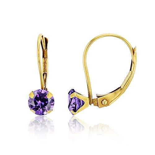 - 14K Yellow Gold 6mm Round Amethyst Martini Leverback Earring