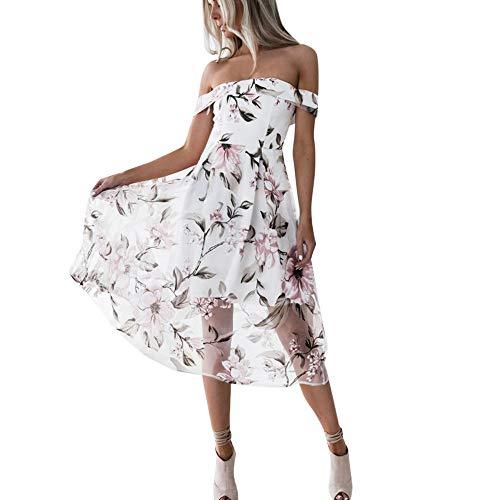UOFOCO Summer Dress for Women Maxi Dress Off Shoulder Floral Printed Long Pink