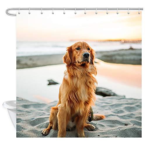 DYNH Golden Hair Shower Curtains, Yellow Golden Retriever Dog Sitting On The Beach by The Sea Bath Curtain, Polyester Fabric Bathroom Curtain with 12 Hooks, 69X70 Inches