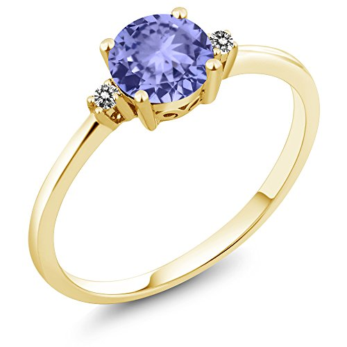 Gem Stone King 10K Yellow Gold Engagement Solitaire Ring set with 0.93 Ct Round Blue Tanzanite and White Diamonds (Size 7)