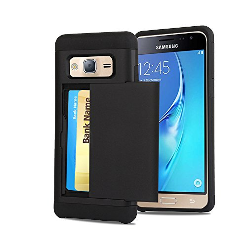 Galaxy J3 Case, CaseTop [Easy 2 Card Access] Sliding Back Door Card Holder Wallet Case - Hybrid TPU PC Cover - For Samsung Galaxy J3 / Express Prime / Amp Prime, Black (Sliding Door Cases)