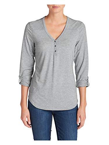 - Eddie Bauer Women's Mercer Knit Henley Shirt, Cinder Petite M