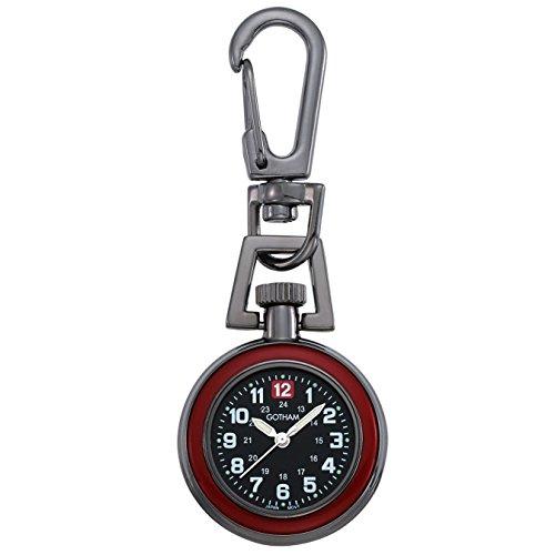 Gotham Unisex Gun Metal Analog Quartz Keychain Clip Fob Watch # GWC18107-1BBK (Mini Keychain Watch)