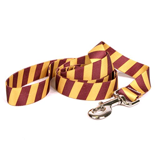 Yellow Dog Design Team Spirit Maroon and Gold Dog Leash-Size Small/Medium-3/4