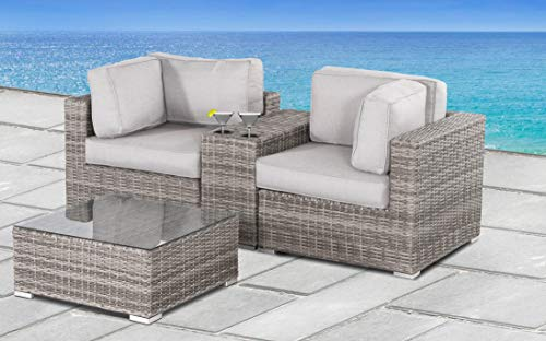 Living Source International Verona with Cushion [CM-5116] (4 Pc Cup Table Set, Verona Grey)