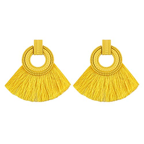 Women Statement Tassel Earrings Fan Shape Thread Tassel Drop Earring Studs (Yellow) (Earrings Shape Fan)