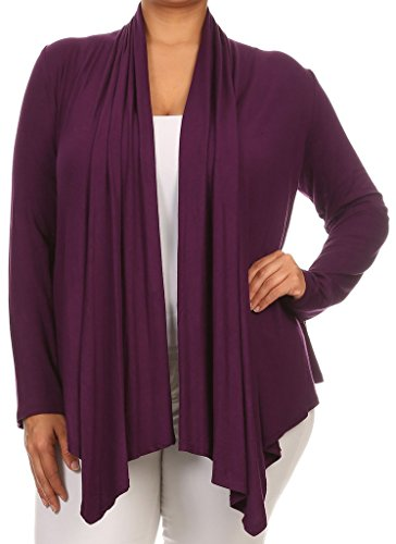 Casual Corner Clothes (BNY Corner Women Plus Size Long Sleeve Drape Open Cardigan Casual Cover Up Purple 1X V7024 SD)