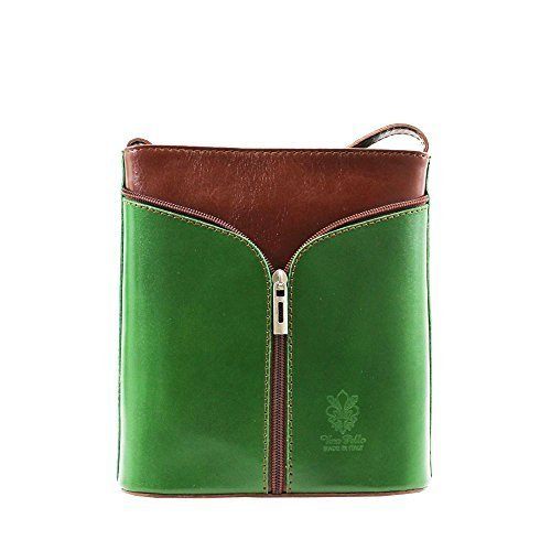Vera Women Messenger Bag Green Tan Red Pelle P7q7wr5AH