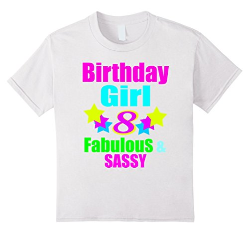 Unisex Child Birthday Girl 8 Year Old Neon Party Shirt White