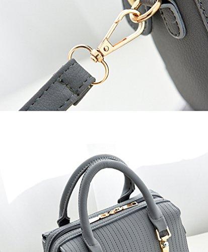ZhiYuanAN Damen Reine Farbe Gitter Handtasche Weich Komfortable Convenient Dauerhaft Single Schultergurt Umhängetasche Grau