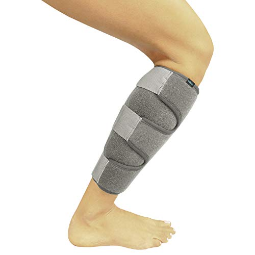 Vive Calf Brace - Adjustable Shin Splint Support - Lower Leg Compression Wrap Increases Circulation, Reduces Muscle Swelling - Calf Sleeve for Men and Women - Pain Relief (Gray)