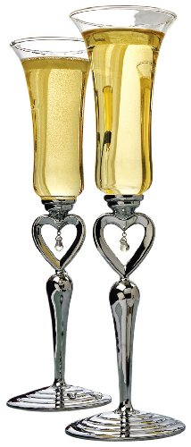 Ivy Lane Design Toasting Flutes, Heart, Silver-Tone, Set of 2