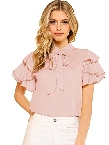 Romwe Women's Bow Tie Neck Ruffle Short Sleeve Casual Work Chiffon Blouse Tops Pink ()